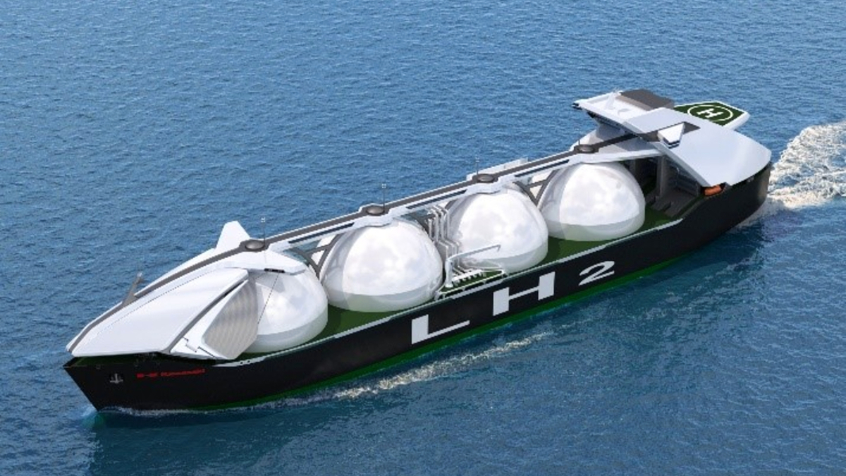With a capacity of 160,000 m3, this LH2 carrier design will rival that of conventional LNG carriers (source: KHI)