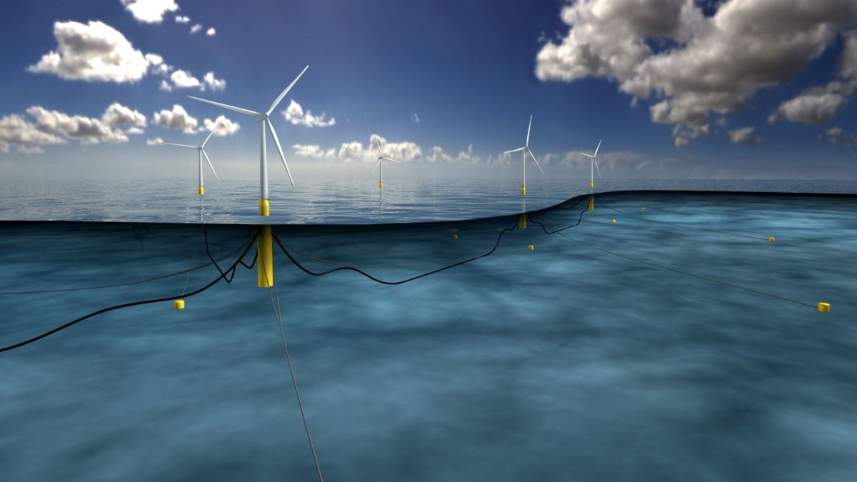Large-scale floating wind projects far from shore will require innovative transmission system technology (source: Equinor)