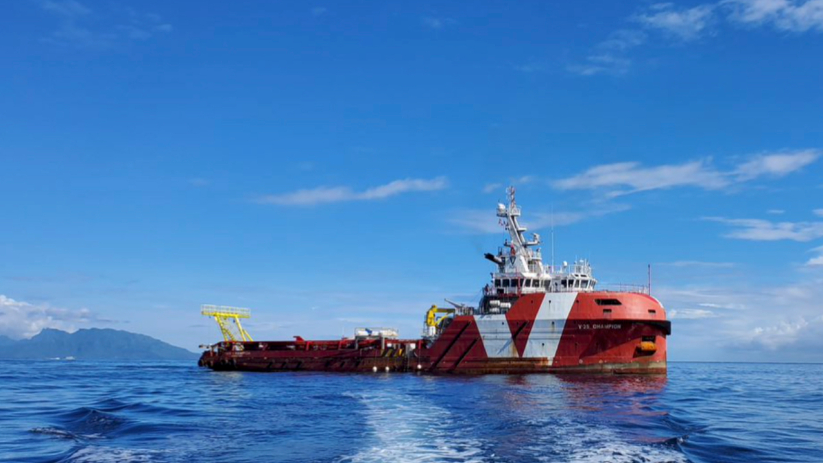 VOS Champion will be deployed for a month on a charter to Geocean in French Polynesia (source: VOS Singapore/Geocean)
