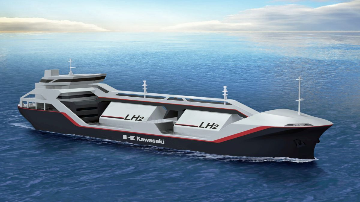 The three companies will combine efforts to create a hydrogen fuel storage and supply system as part of an integrated hydrogen fuel system design (Image of liquid hydrogen carrier concept vessel; source: Kawasaki Heavy Industries)