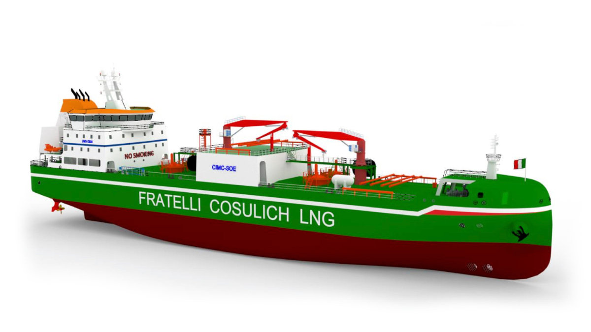 This 8,000-m3 LNG bunker vessel will start operating in the Mediterranean in 2023 (source: Fratelli Cosulich)