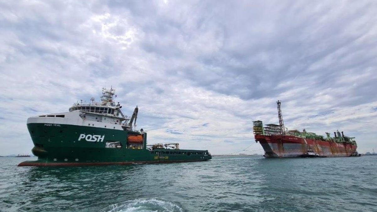 POSH Teal won the contract to tow Berge Helene from Singapore to Alang for safe recycling (source: POSH)