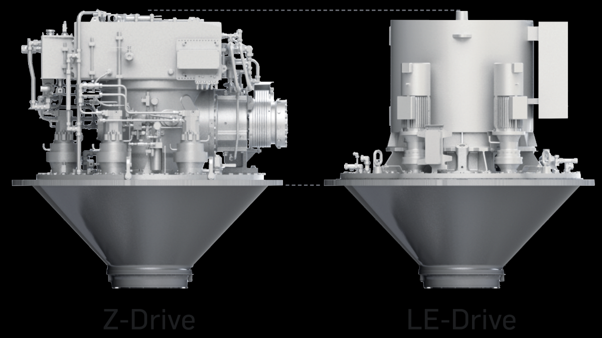 Despite incorporating an electric motor, LE-Drives have comparable installation heights to those of a Z-drive (source: Schottel)