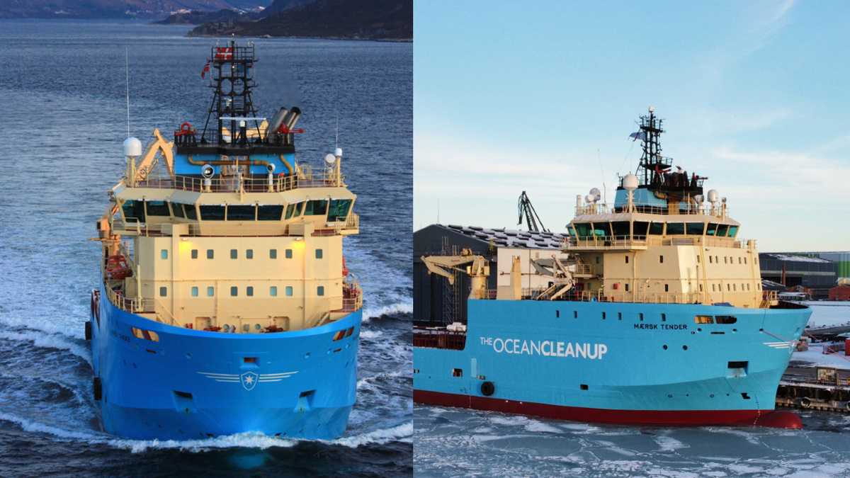 Maersk Trader will join Maersk Tender supporting The Ocean Cleanup's plastic pollution collection efforts (source: Maersk Supply Service)