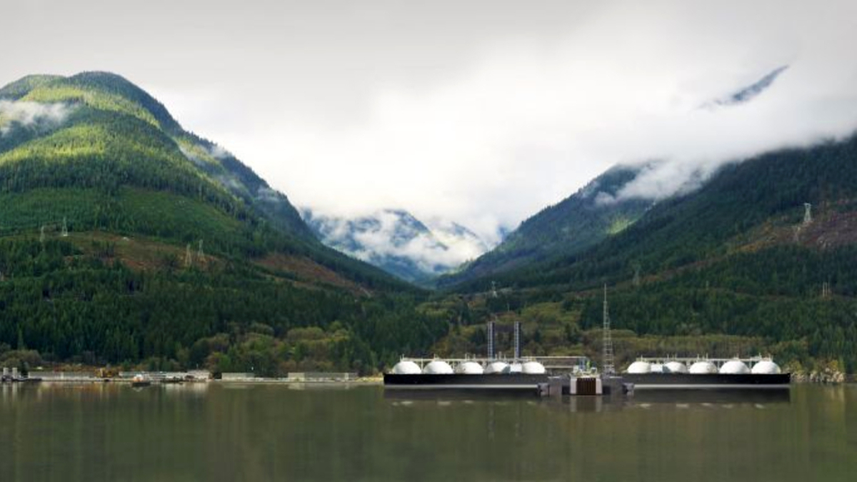 Woodfibre LNG would use hydroelectric power for its electric drive turbines to lower its carbon footprint (source: Woodfibre LNG)