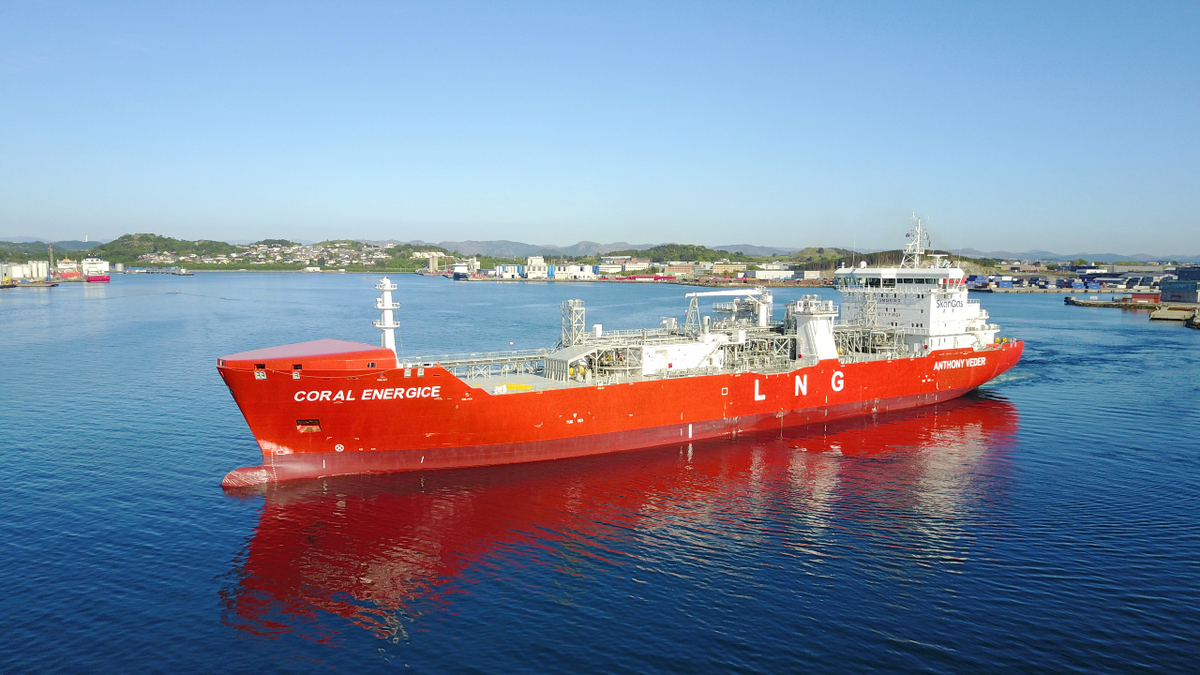 One of the larger small-scale LNG carriers is Coral EnergICE, which has a capacity of 18,000 m3 (source: Anthony Veder)