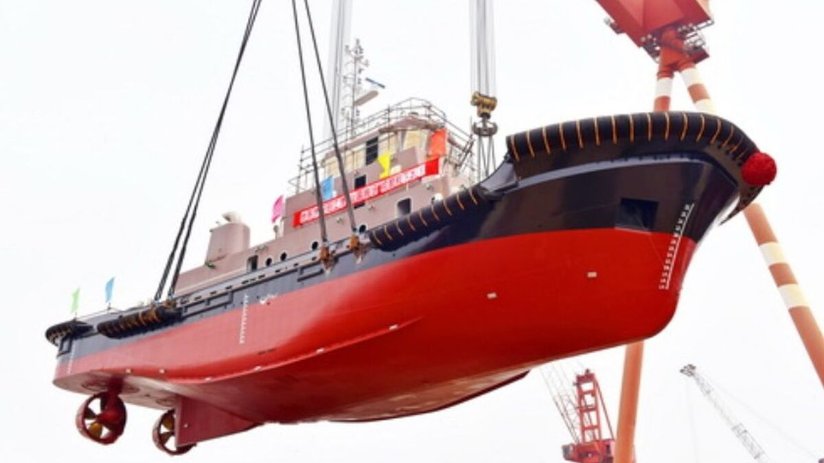 Jiangsu Zhenjiang Shipyard launches Yechang Tuo 9 ASD tug (source: JZ Shipyard)