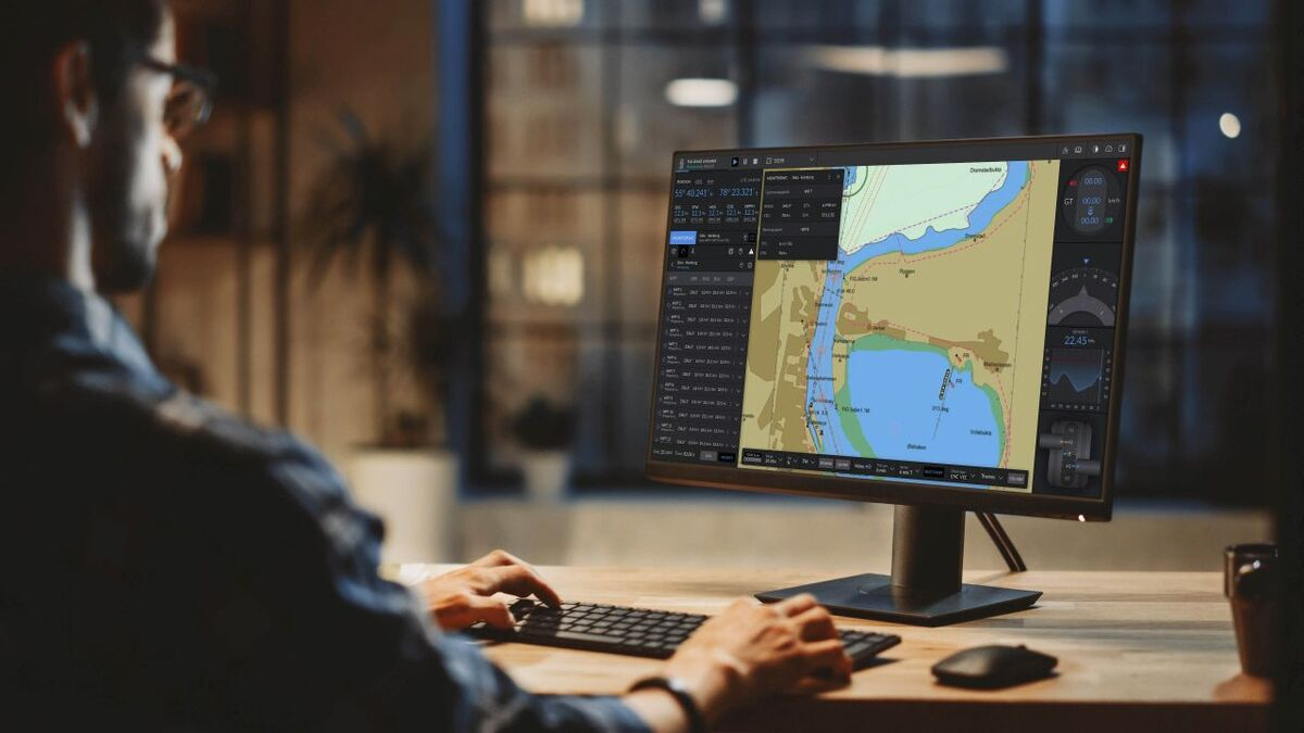 A seafarer practices ECDIS operations on a K-Sim simulator (source: Kongsberg)