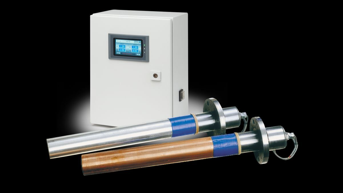 MGPS control panel with anodes for protecting box coolers (source: Cathelco)
