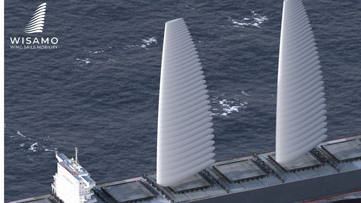 Illustration of WISAMO inflatable sails on cargo ship – bow is to the left* (source: Michelin)