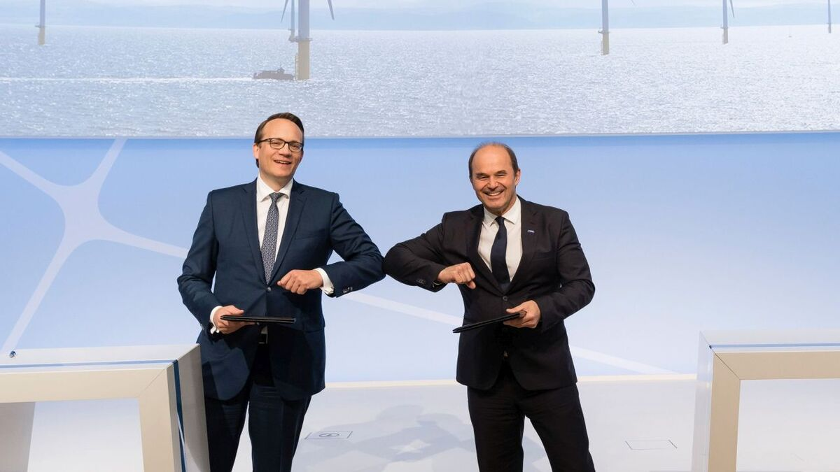 RWE chief executive Markus Krebber (left) and BASF chairman Martin Brudermüller have signed a letter of intent
