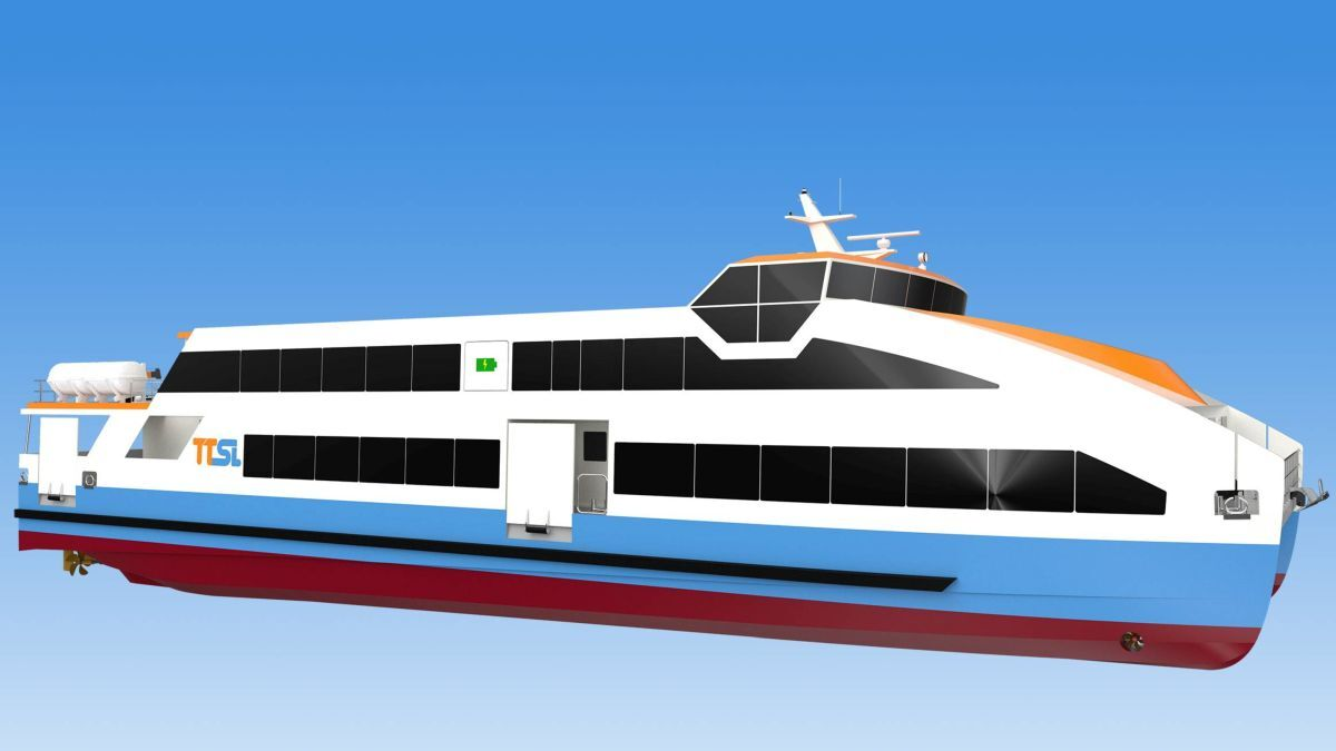 Each of the 40-m catamaran ferries will be powered by 1,860-kWh battery packs (source: Astilleros Gondan)