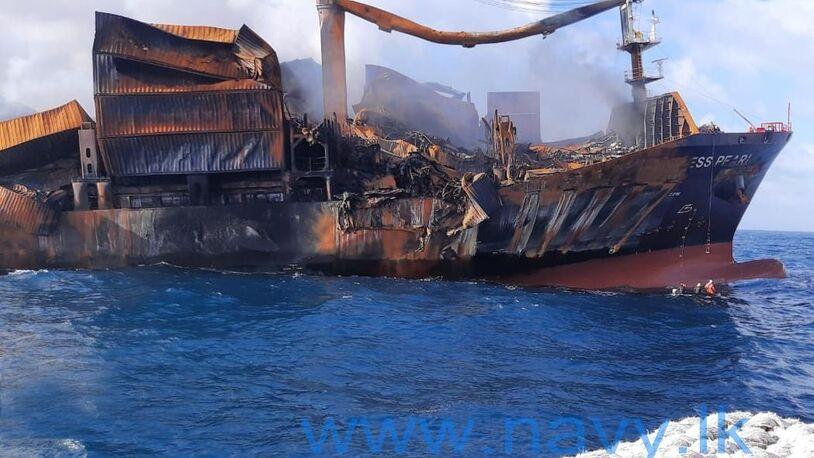 Burned box ship sinking off Sri Lanka