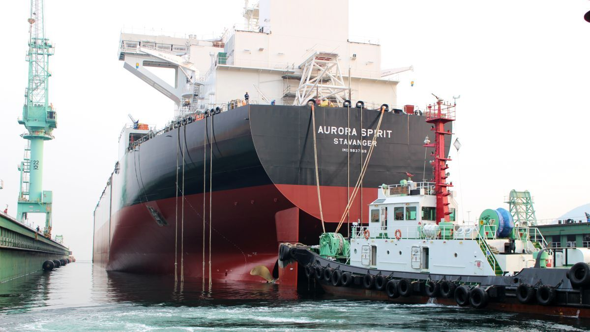 A carbon capture and storage pilot project will be demonstrated on one of Altera's shuttle tankers. Here, the DP2 class E-Shuttle tanker Aurora Spirit is shown at its launching (source: Teekay)