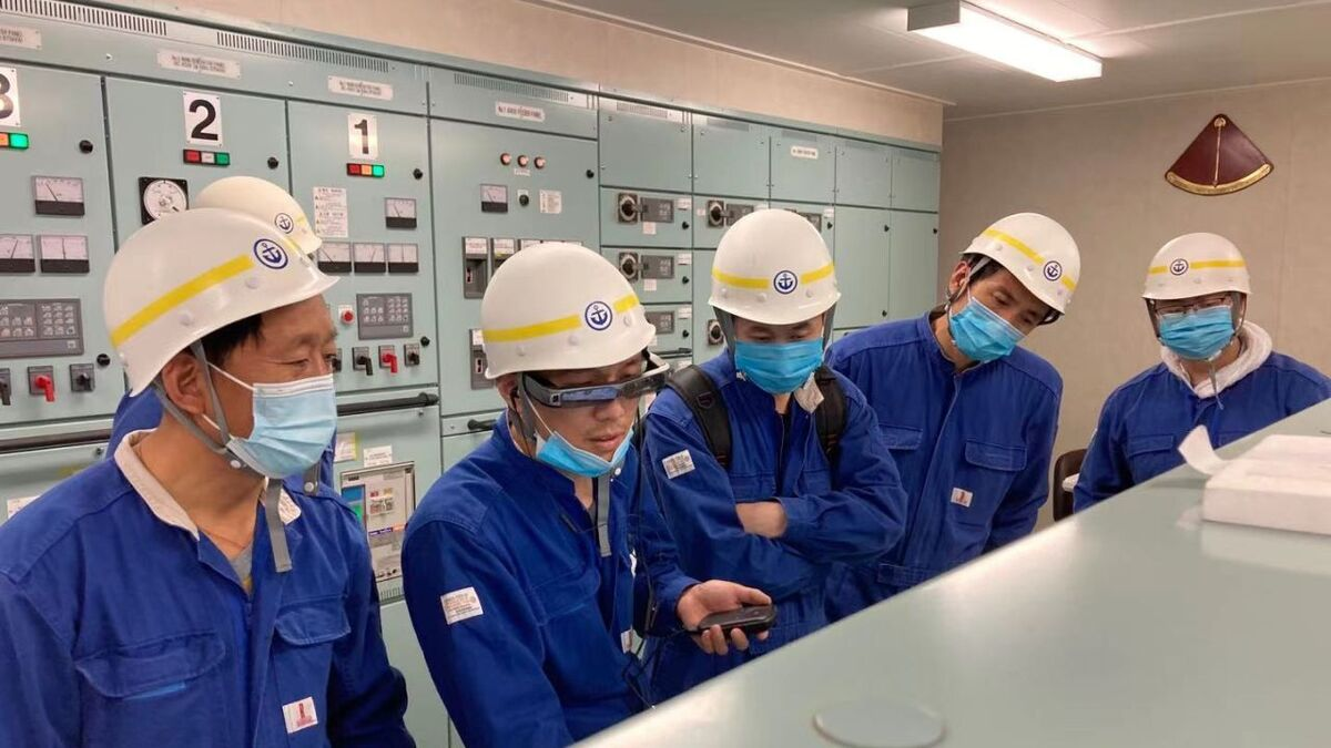 Crew use AR glasses in an engine control room in Japan supported by Yara in China (source: Yara)