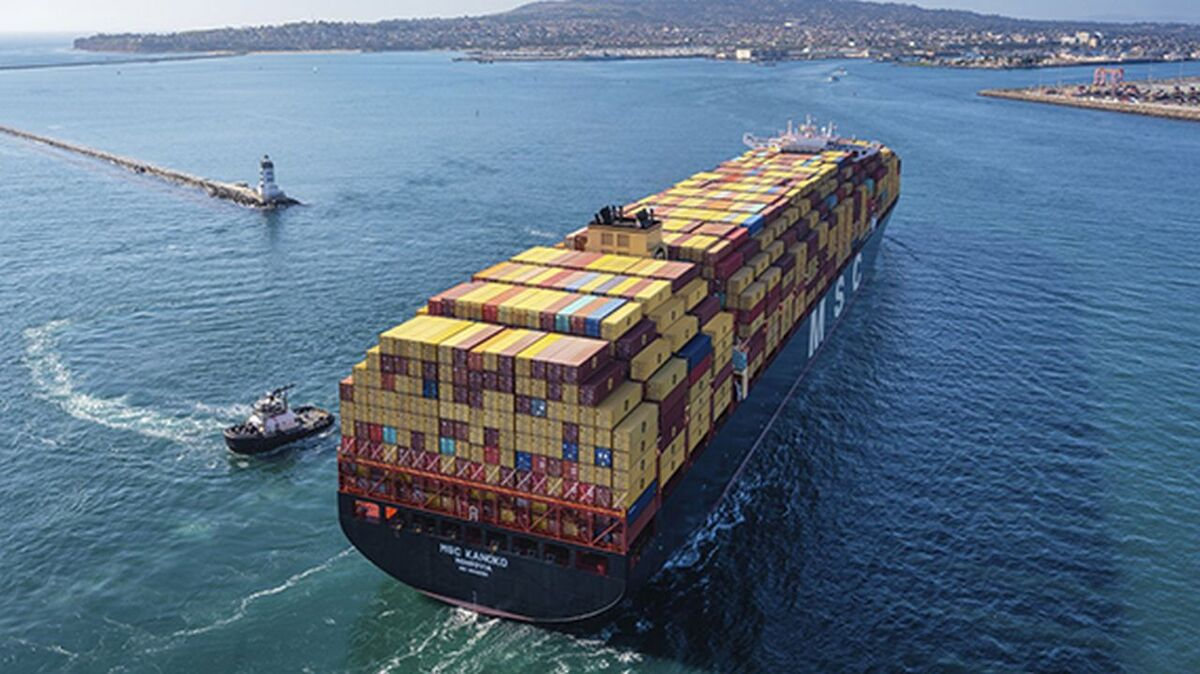 A tug assists an MSC container ship into port - MSC will do this itself in Antwerp (source: MSC)