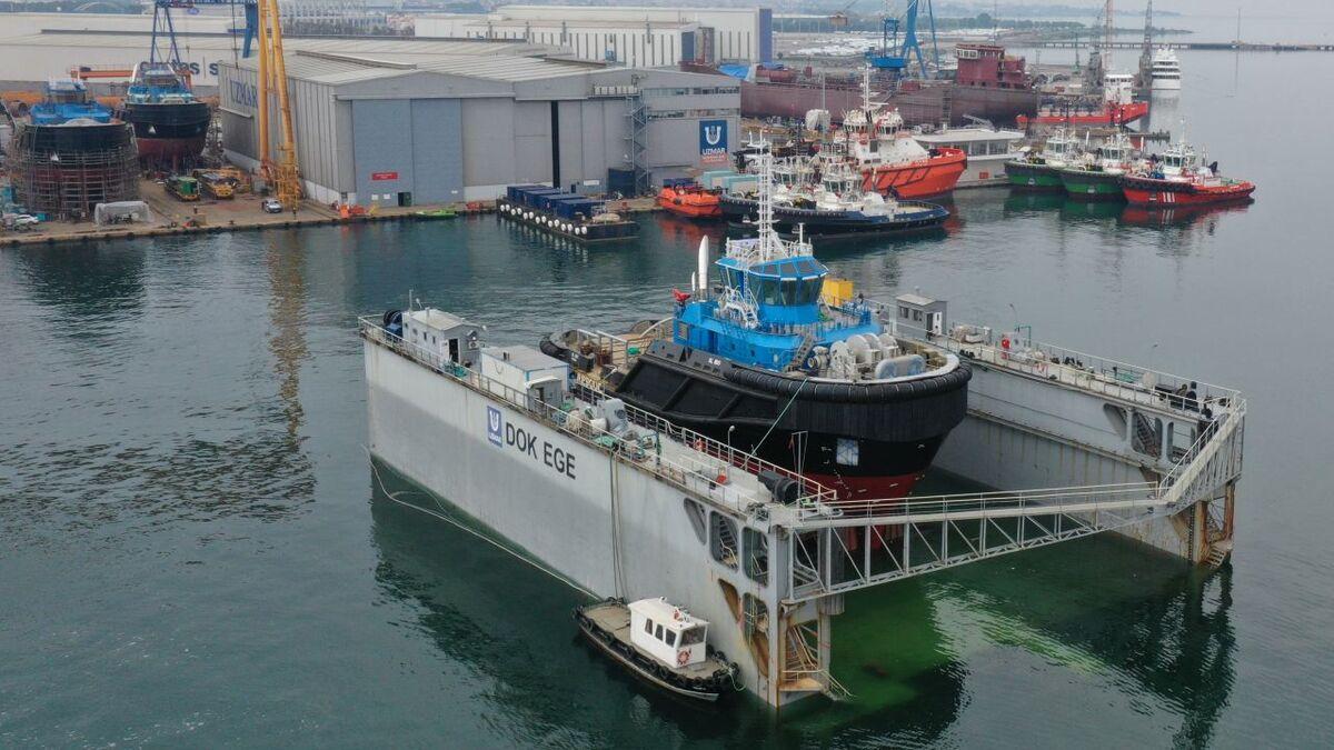 Uzmar launches first ASD escort tug for Smit Lamnalco (source: Uzmar)