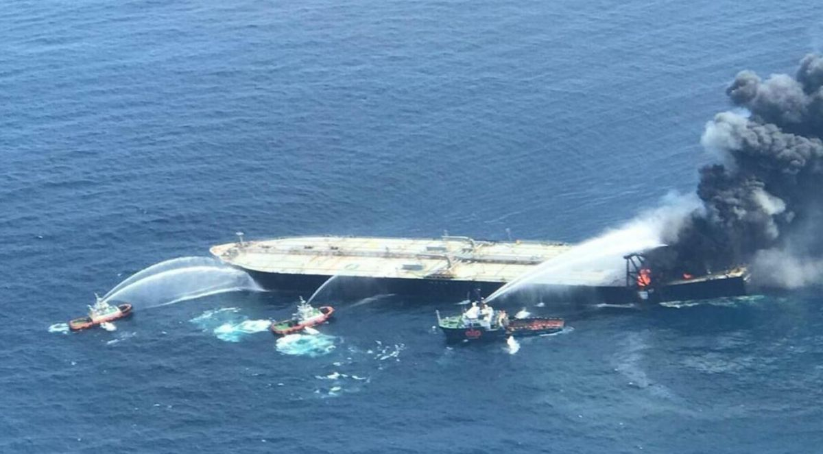 Following a boiler explosion and fire in 2020, the VLCC New Diamond has been sold for recycling (source: Indian Coastguard)