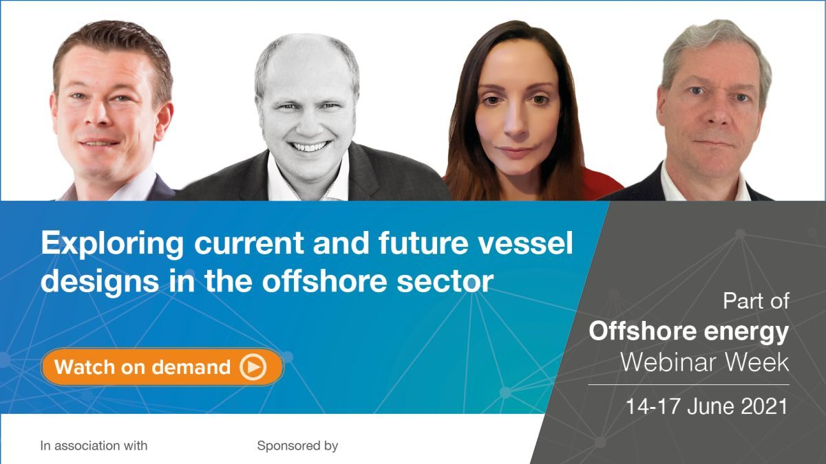 Panellists at the webinar were (Left to right): OSD-IMT Ship Design & Marine Consultancy sales manager Wijtze van der Leij, ESNA naval architect and co-founder Trygve Espeland, IHS Markit ConstructionVesselBase manager Catherine MacFarlane and Royal IHC market director offshore renewables Stefan Let