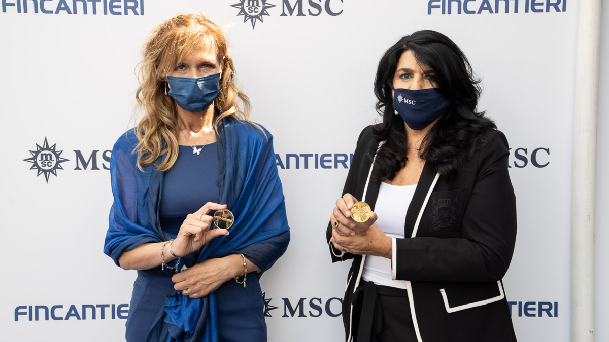 Godmothers for the coin ceremony for MSC Seascape were Fincantieri production supervisor Jolette Vincenzi and MSC category manager retail Monica Somma (source: Fincantieri)