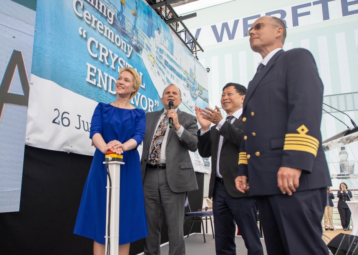 The christening of Crystal Endeavor (source: Crystal Expedition Cruises)