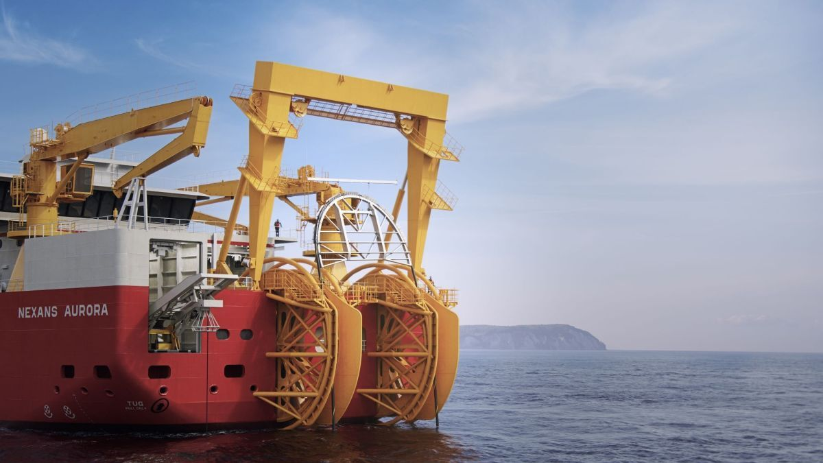 Bristling with cable-laying technology – the stern of Nexans Aurora (source: Nexans)