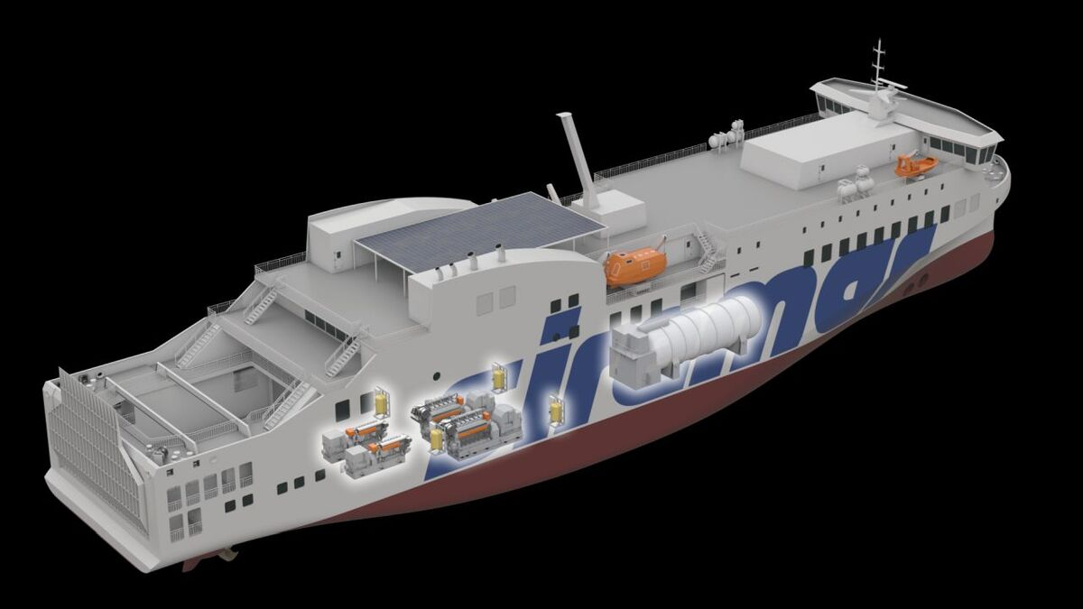 The new ferry showing where the Wärtsilä engines will be installed (source: NAOS)
