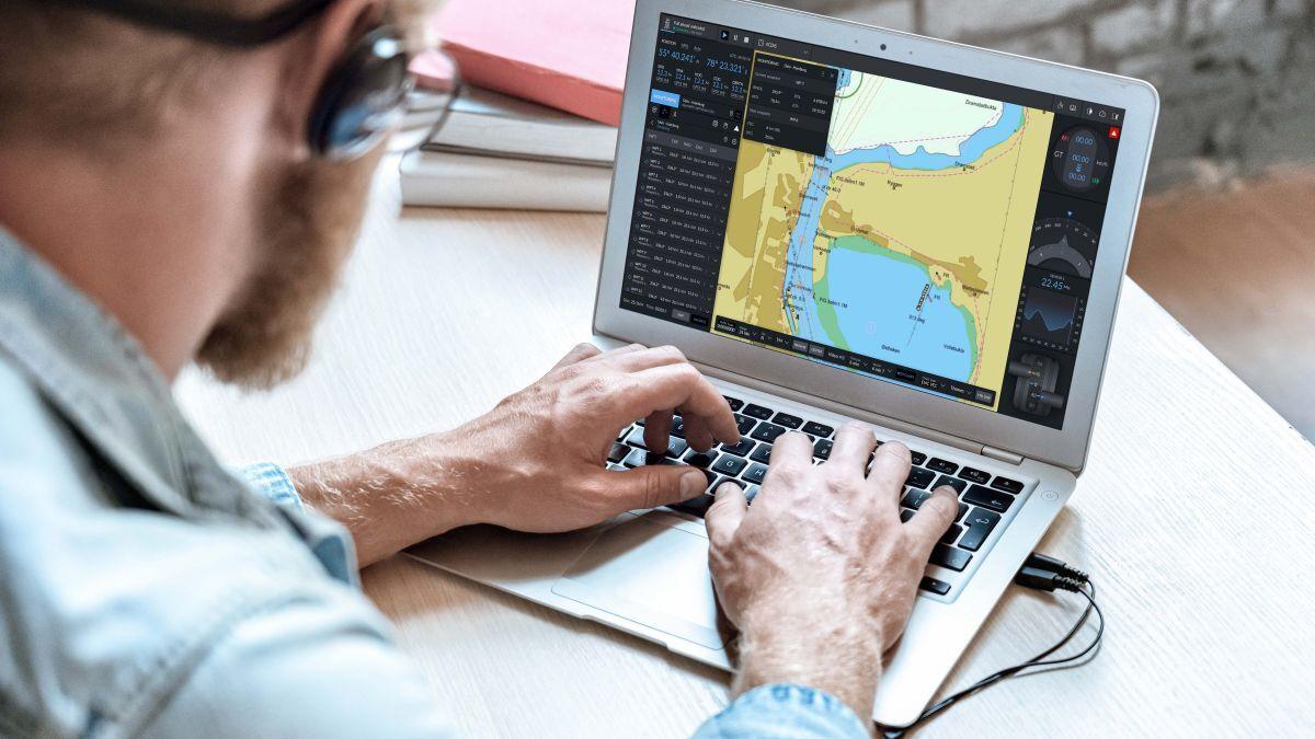 A seafarer trains on ECDIS using Kongsberg Digital cloud-based simulator (source: Kongsberg)