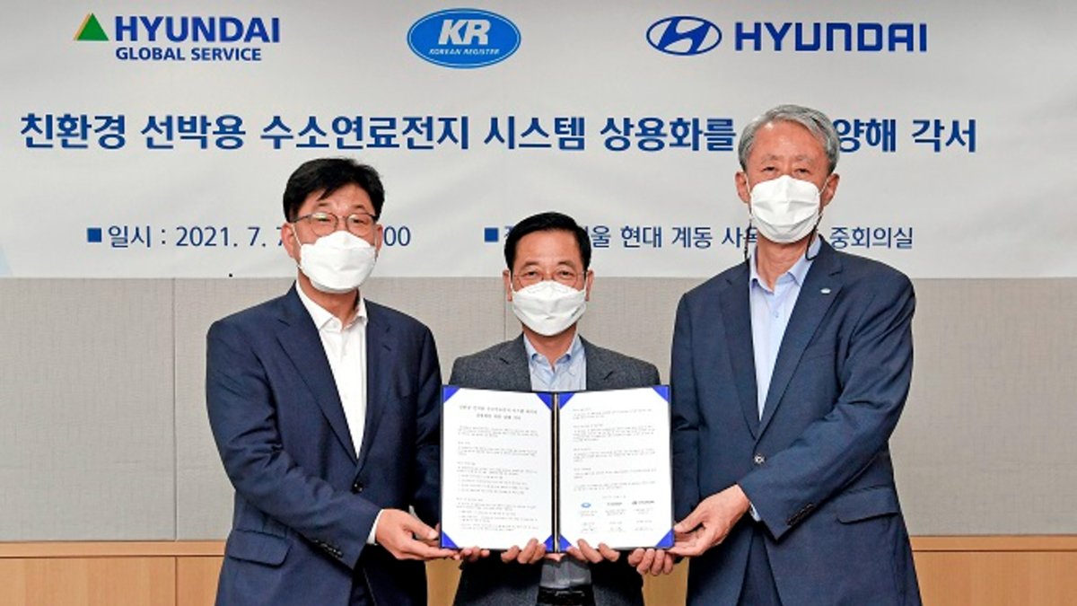KR, Hyundai Motors and Hyundai Global Services are working to jointly establish marine hydrogen fuel-cell technology (source: KR)