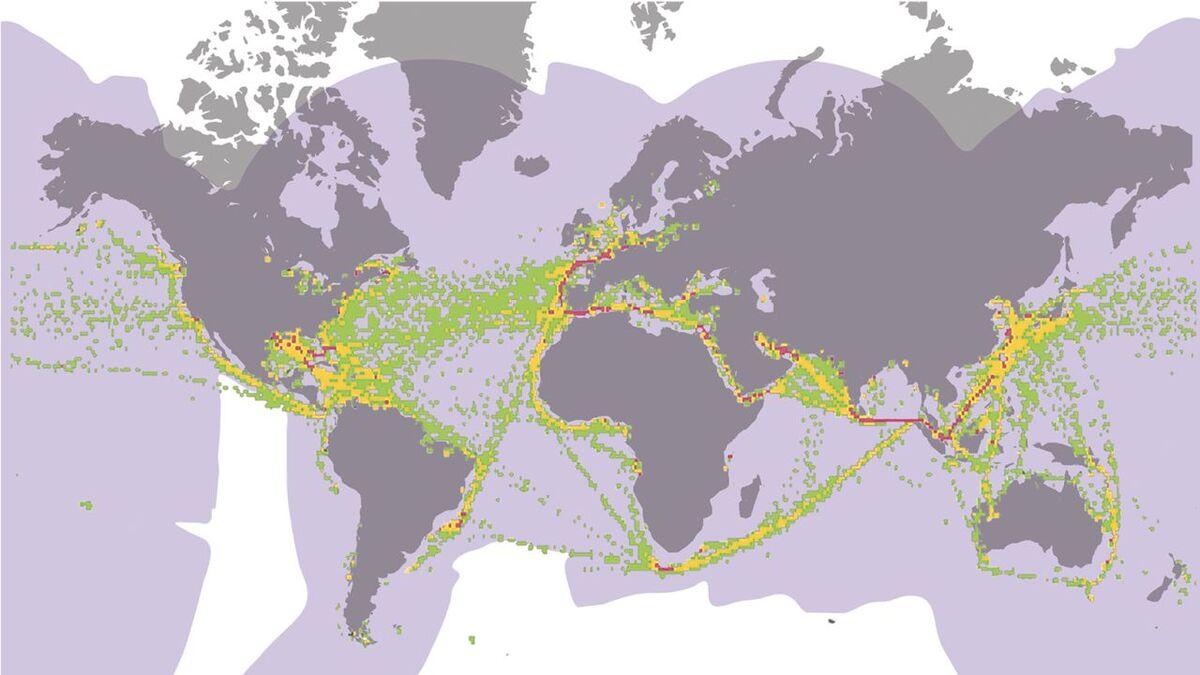 KVH V7 HTS VSAT worldwide coverage and ship tracks (source: KVH)