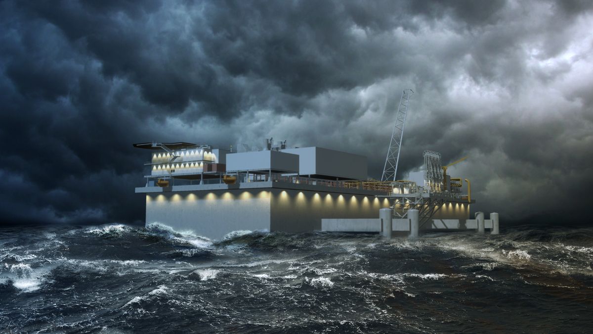 Located about 19 km off of India's east coast in the Bay of Bengal, the Kakinada LNG terminal will be exposed to challenging monsoon weather conditions (source: Crown LNG)