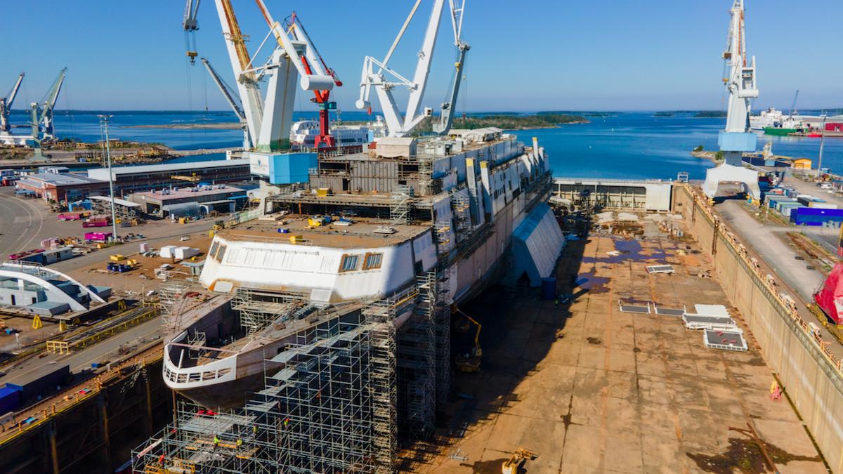 Mystar under construction at Rauma Shipyard (source: Tallink Grupp)
