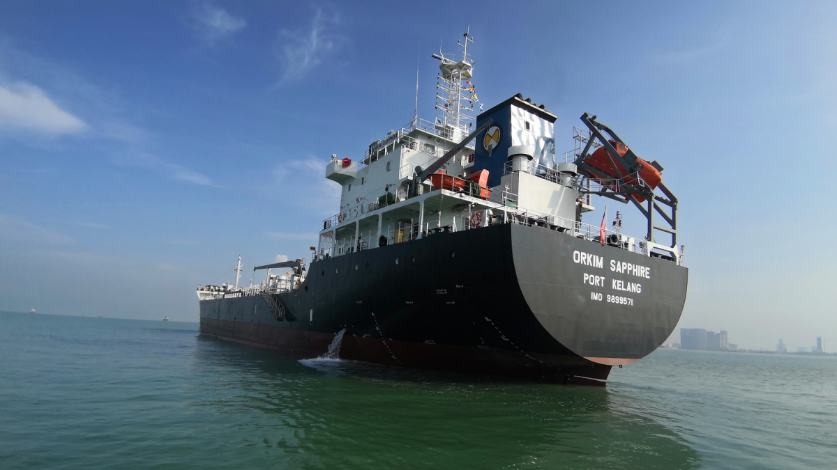 Orkim Sapphire is a tanker newbuild featuring Thordon's Compaq bearing seal (source: Thordon)