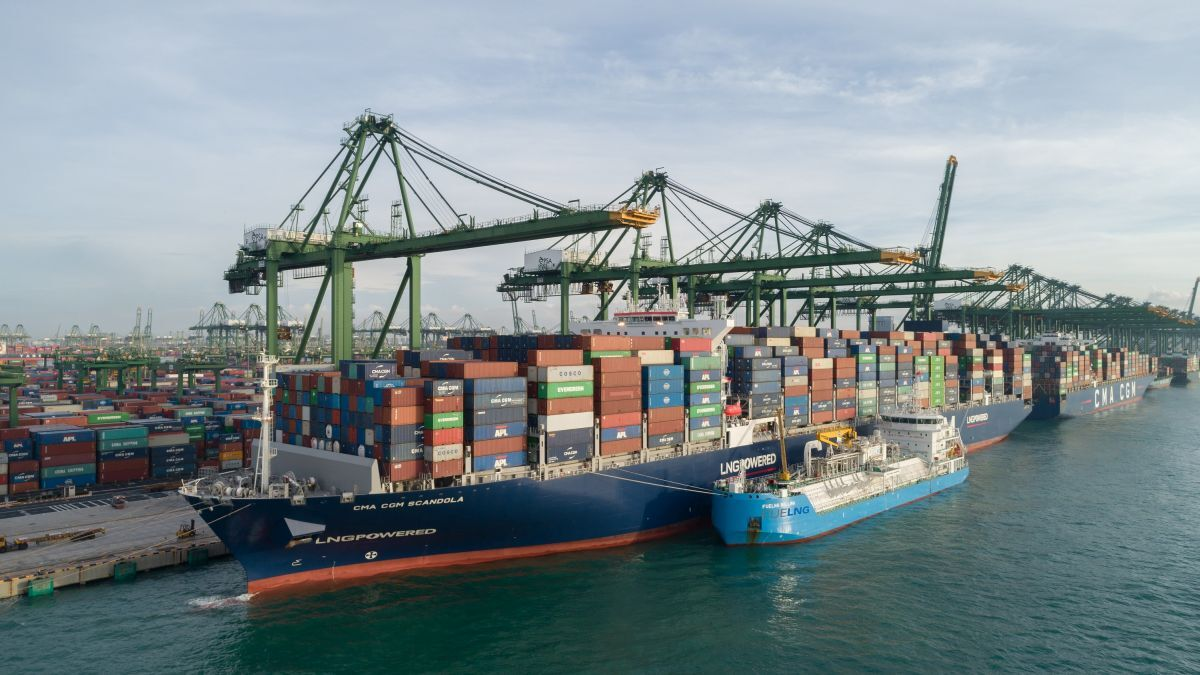 CMA CGM Scandola was the first of the carrier's six new 15,000-TEU LNG-powered container ships to be bunkered in Singapore (pictured) (source: CMA CGM)