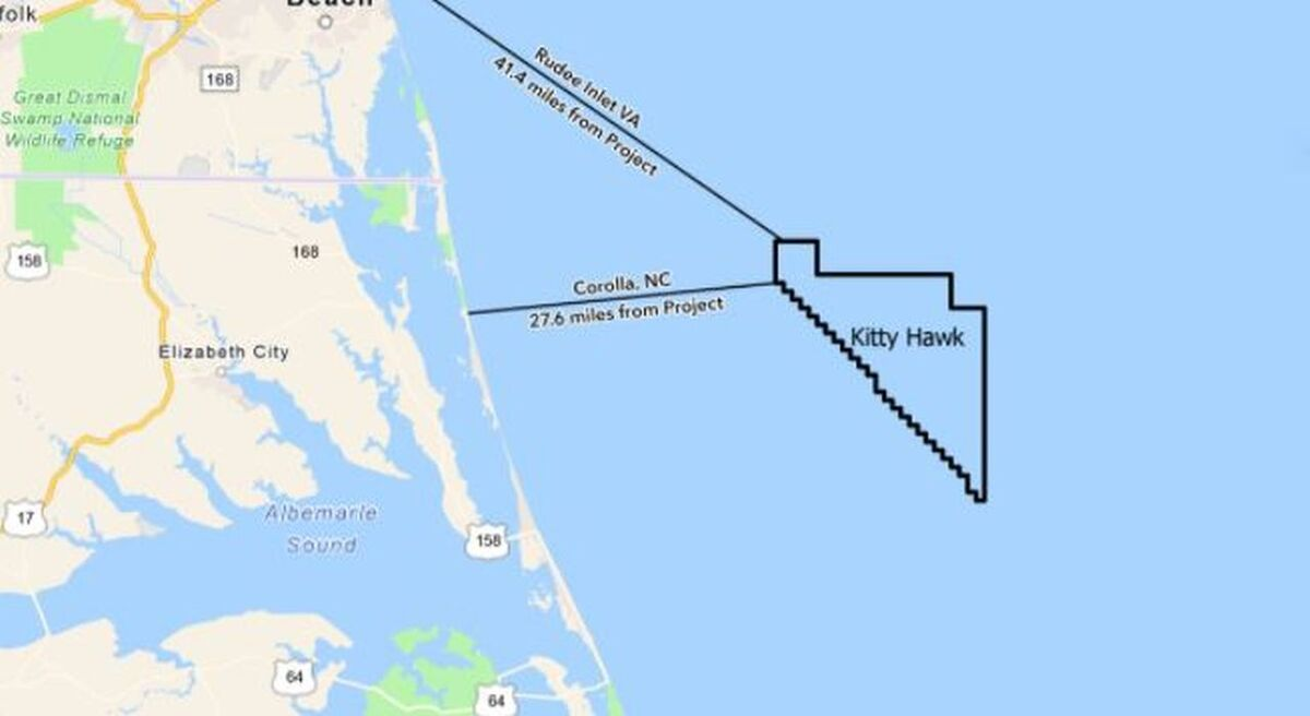 Kitty Hawk is located more than 40 km from the Outer Banks and will support 2.5 GW of generation (source: Kitty Hawk Offshore)