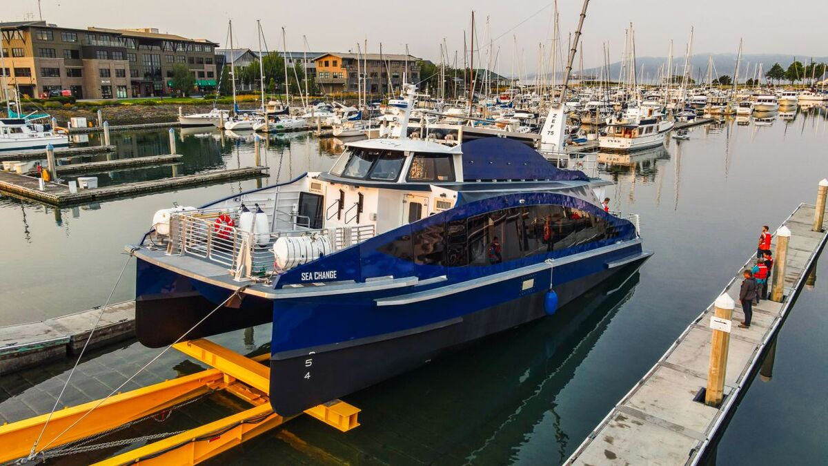 Hydrogen fuel cell-powered, electric-drive ferry Sea Change has been launched (source: All American Marine)