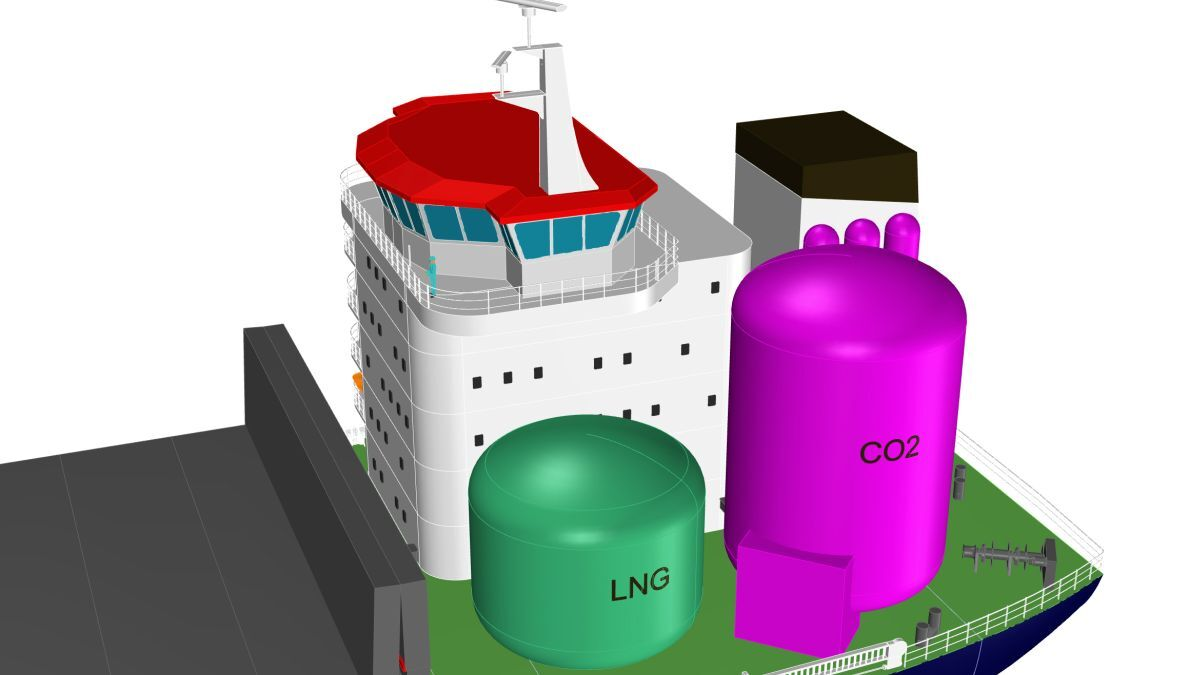 LNG-fuelled vessels using ship-based carbon capture could become carbon neutral (source: Conoship International)