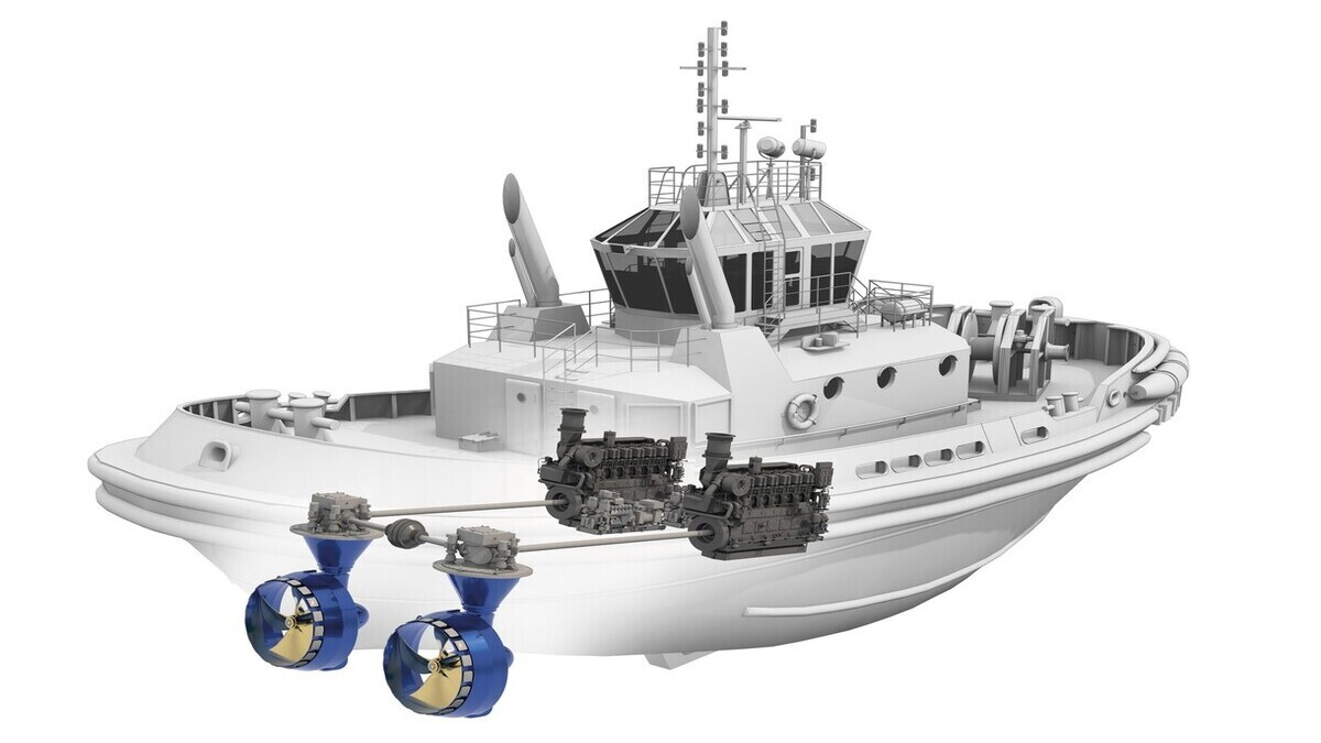 The Sydrive M connects two azimuth thrusters in one vessel, allowing the thrusters to be driven together by only one of the main engines (source: Schottel)