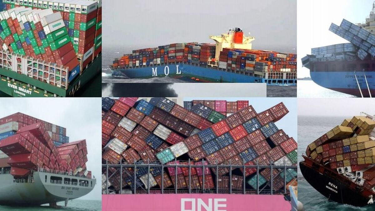 Container stacks were damaged on ships in multiple accidents in the Pacific Ocean (source: Henry Chen)