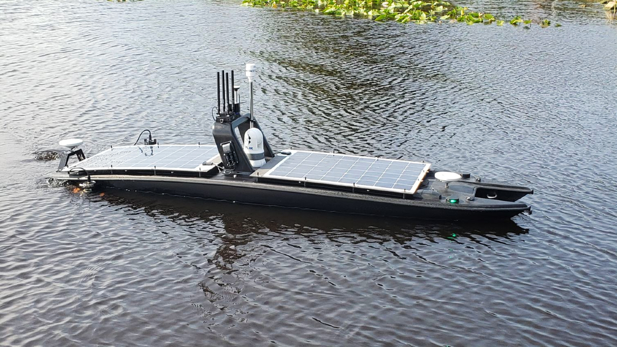 The USV MANTAS T12 can be fitted with several options, including solar panels (source: MARTAC)