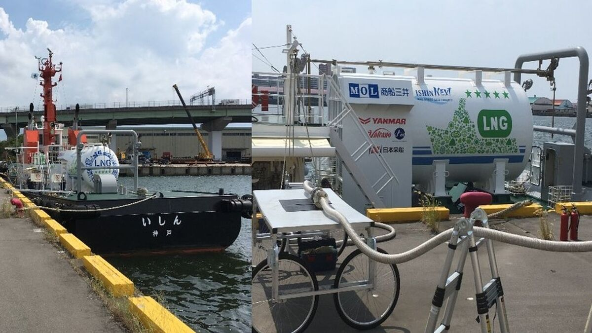MOL tug Ishin receives its first carbon-neutral LNG fuel in Osaka, Japan (source: MOL)