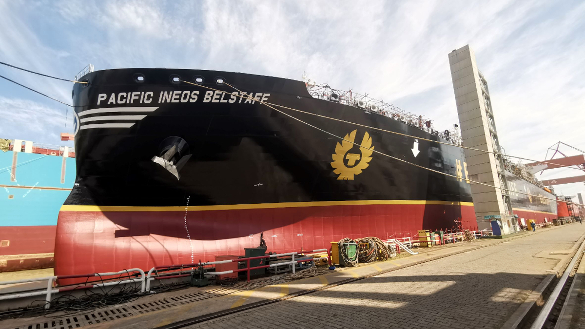 Pacific Ineos Belstaff is the largest VLEC ever built (source: Jiangnan Shipyard)