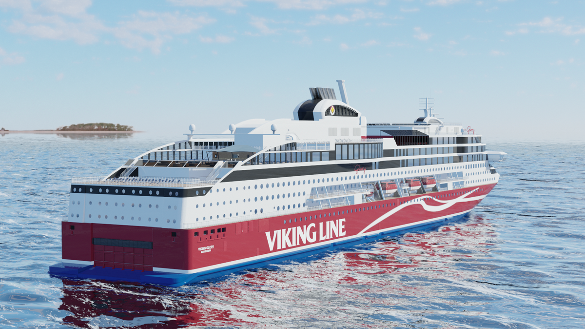 Viking Glory's maiden voyage commences in 2022 with the ship expected to operate on the Turku–Åland–Stockholm route (source: Viking Line)