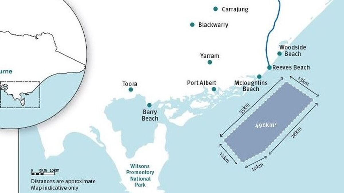 Star of the South is a 2.2-GW project off the coast of the Gippsland, which would harness Bass Strait's strong offshore winds (source: Star of the South)