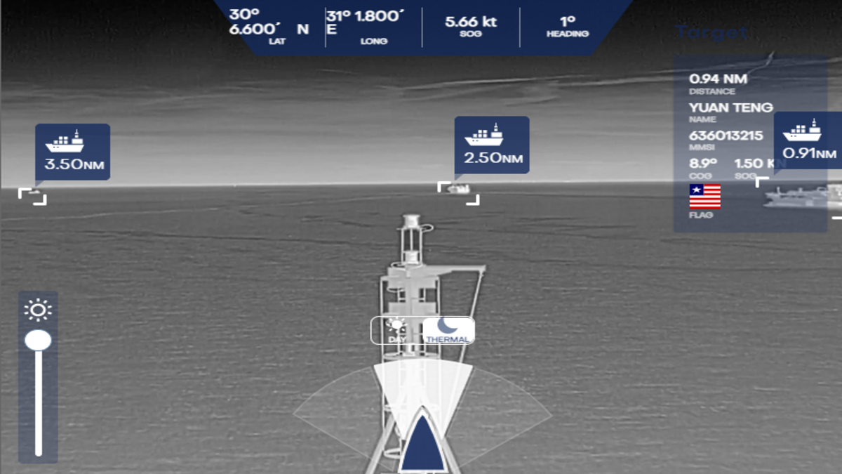 A nighttime demonstration using infrared camera. Ships can be automatically identified during day or night, providing 24/7 coverage (Source: NYK Group)